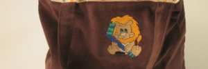 Custom Embroidered Handmade Diaper Tote Bag With Brown Outer Fabric And Embroidered Lion By Bababean